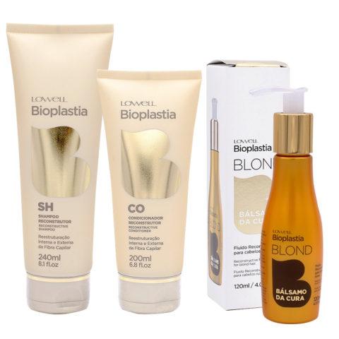 Lowell Bioplastia Shampoo 240ml Balsamo 200ml Fluido 120ml per Capelli Rovinati biondi