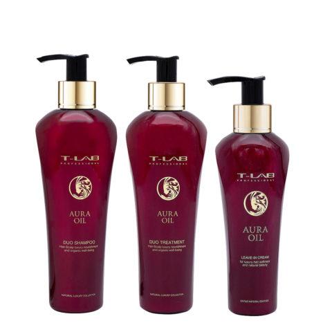 T-Lab Aura Oil Duo Shampoo 250ml Balsamo 250ml Siero 130ml tutti i tipi di capelli