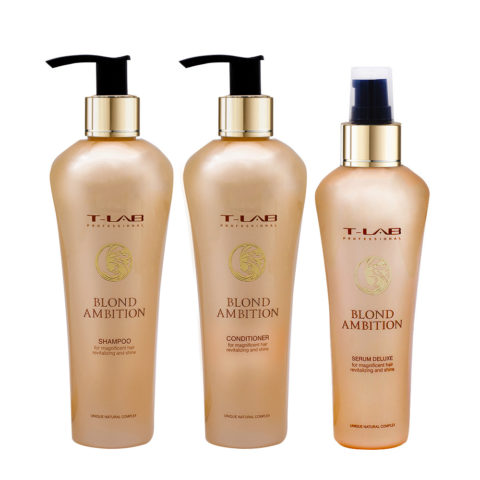 T-Lab Blond Ambition Shampoo 250ml Balsamo 250ml Siero 130ml per Capelli Biondi