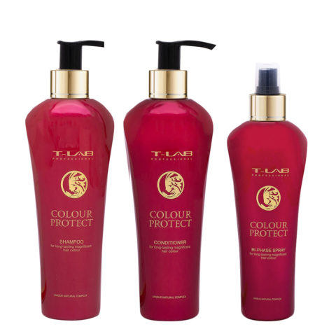 T-Lab Colour Protect Shampoo 250ml Balsamo 250ml Spray 250ml per Capelli Colorati