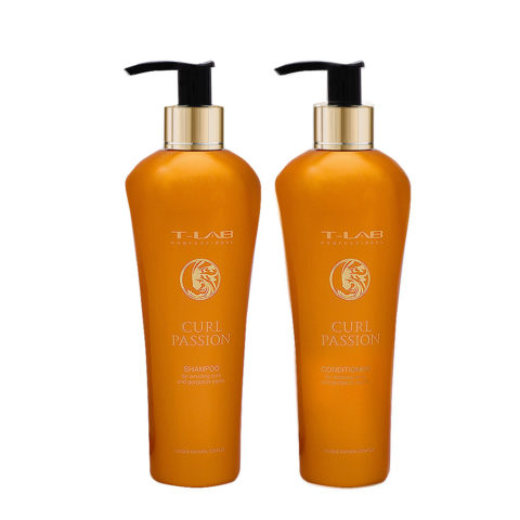 T-Lab Curl Passion Shampoo 250ml e Balsamo 250ml per Capelli Ricci