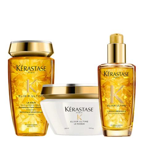 Kerastase Elixir Ultime Kit Idratante Shampoo 250ml Maschera 200ml Olio 100ml