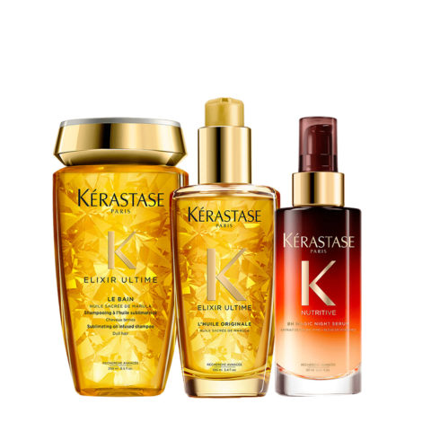 Kerastase Elixir Ultime Kit Idratante Shampoo 250ml Olio 100ml Siero Notte 90ml