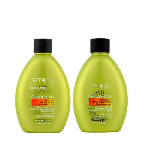 Redken Curvaceous Shampoo 300ml e Balsamo 250ml per Capelli Ricci