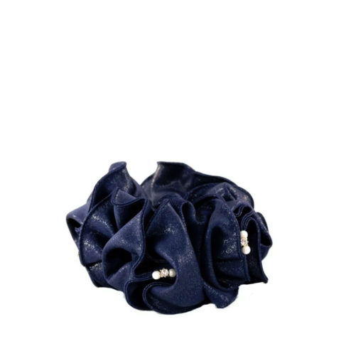 VIAHERMADA Elastico per Capelli In Raso Blu con Perle e Strass