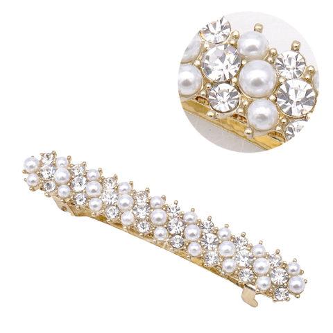 VIAHERMADA Fermacapelli Matic con Perle e Strass in Oro
