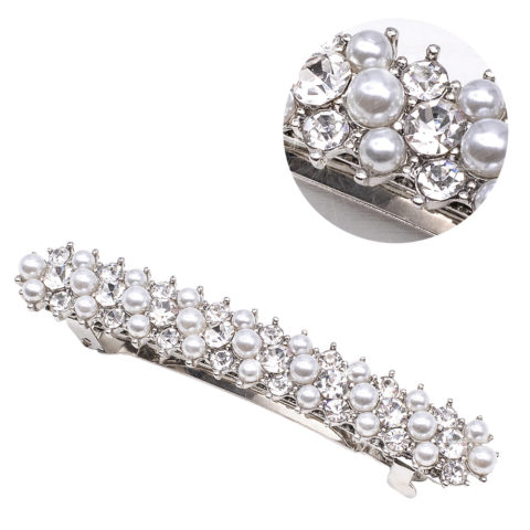 VIAHERMADA Fermacapelli Matic con Perle e Strass in Argento