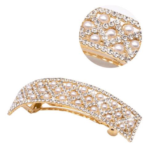 VIAHERMADA Fermacapelli Matic Oro Curvo con Perle e Strass