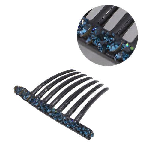 VIAHERMADA Fermaglio a Pettine in Plastica con Cristalli Blu