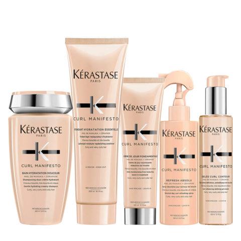 Kerastase Curl Manifesto Kit Capelli Ricci Shampoo 250ml, Balsamo250ml Crema150ml Spray190ml Gel150ml