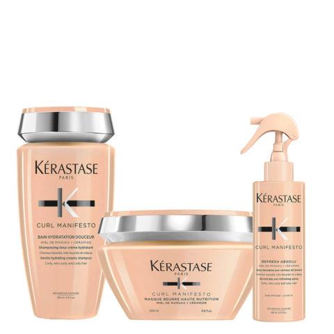 Kerastase Curl Manifesto Kit Capelli Ricci Shampoo250ml Maschera200ml Spray190ml