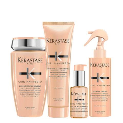 Kerastase Curl Manifesto Kit Capelli Ricci Shampoo250ml Balsamo250ml Olio50ml Spray150ml