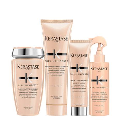 Kerastase Curl Manifesto Kit Capelli Ricci Shampoo250ml Balsamo250ml Crema150ml Spray190ml