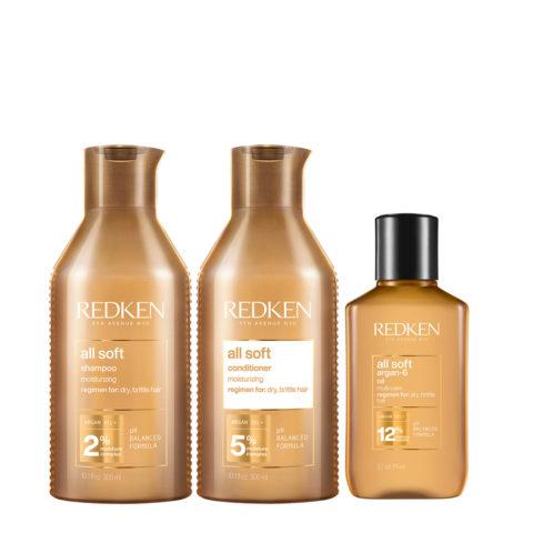 Redken All Soft Kit Shampoo 300ml Conditioner 300ml Oil90ml