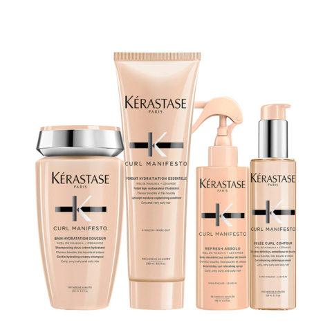 Kerastase Curl Manifesto Kit Capelli Ricci Shampoo250ml Balsamo250ml Crema150ml Spray150ml