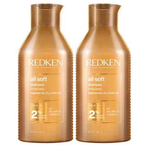 Redken All Soft Kit di 2 Shampoo Formato Speciale 500ml+500ml