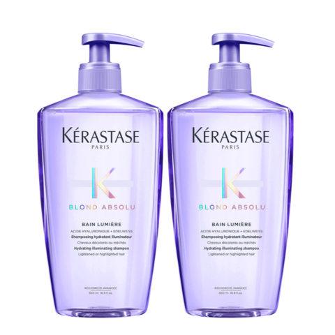 Kerastase Blond Absolu Bain Lumiere Kit 2 Shampoo illuminante capelli biondi 500ml + 500ml