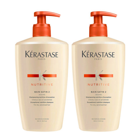 Kerastase Nutritive Bain Satin 2 Kit 2 Shampoo per capelli secchi 500ml+500ml