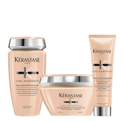 Kerastase Curl Manifesto Kit Capelli Ricci Shampoo 250ml  Maschera 200ml Crema Anticrespo 150ml