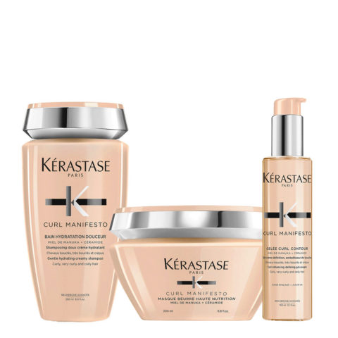 Kerastase Curl Manifesto Kit Capelli Ricci Shampoo 250ml Maschera 200ml Crema Definizione 150ml