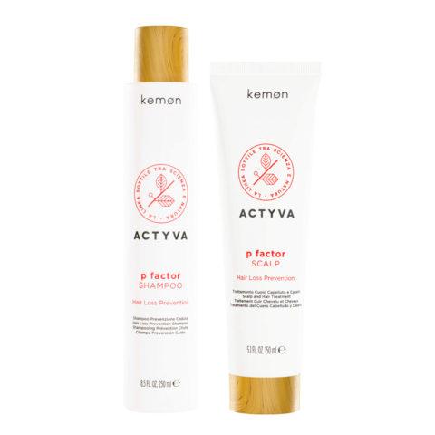 Kemon Actyva P Factor Kit Shampoo 250ml Trattamento tonificante 150ml