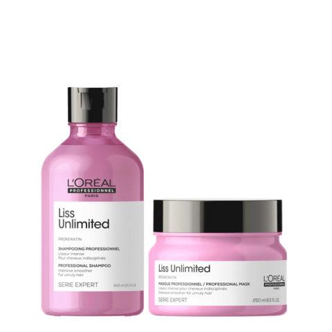 L'Oréal Professionnel Paris Serie Expert Liss Unlimited Kit Anticrespo Lisciante Maschera 250ml Shampoo 300ml
