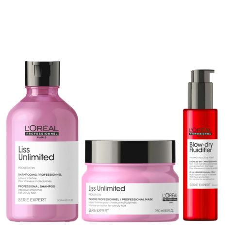 L'Oréal Professionnel Paris Serie Expert Liss Unlimited Kit + Blow Dry Fluidifier Leave In Protettore Termico
