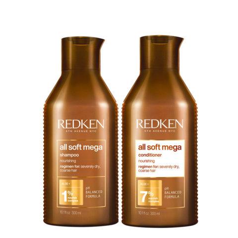 Redken All Soft Mega Kit Capelli Secchi Shampoo 300ml Balsamo 300ml