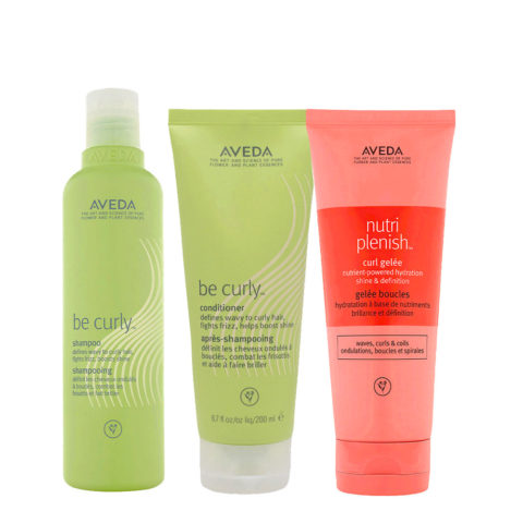 Aveda Be Curly and Nutriplenish Kit Shampoo 250ml Conditioner 200ml Curl Gelee 200ml