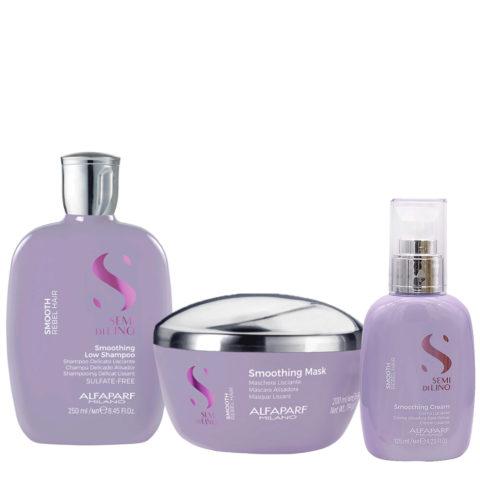 Alfaparf Semi di Lino Smoothing Kit Shampoo 250ml Maschera 200ml Crema 125ml - capelli ribelli