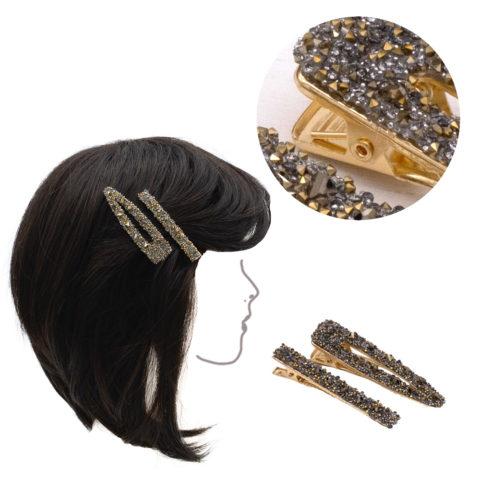 VIAHERMADA Set di due Clip in Metallo Dorato con strass oro e antracite