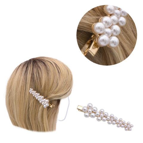 VIAHERMADA Clip per capelli Dorato con Perline 8x2cm