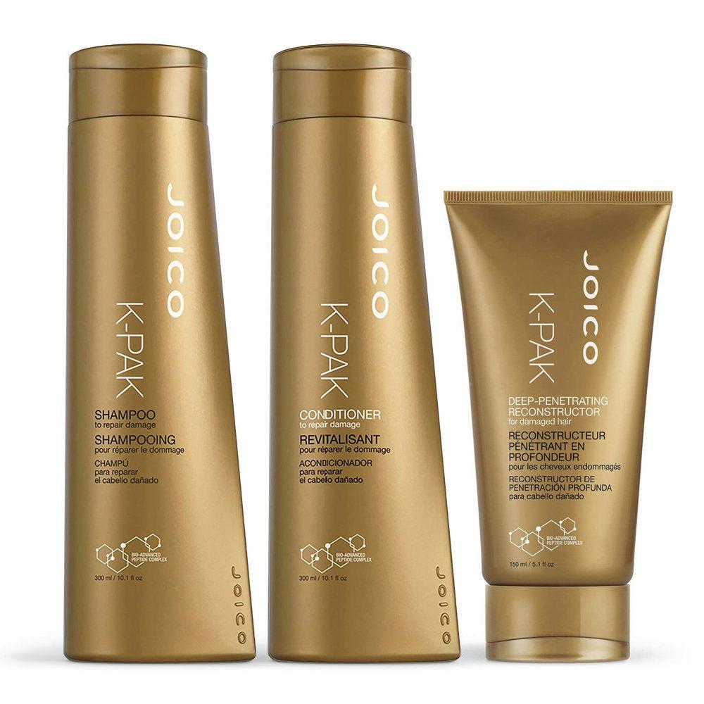 Joico K-pak Kit1 Shampoo 300ml Conditioner 300ml Deep penetrating Reconstructor - shampoo balsamo e maschera
